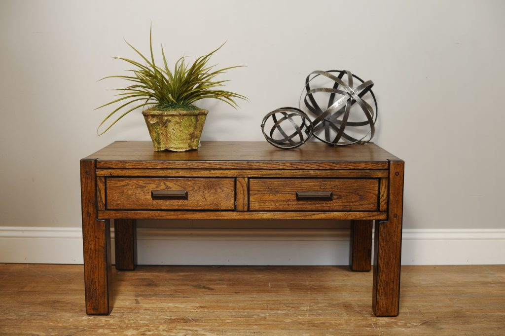 Lodge Oak Rectangular Cocktail Table with Drawers by Null