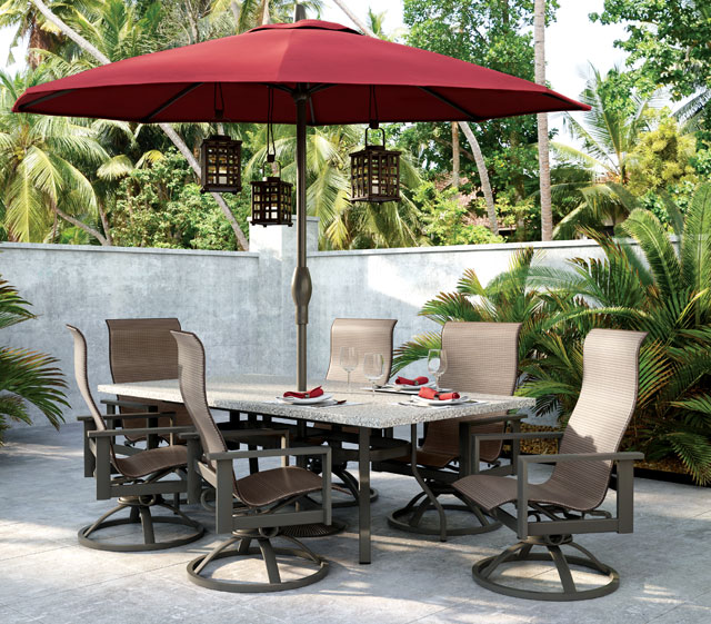 Dining Table with Umbrella for Shade