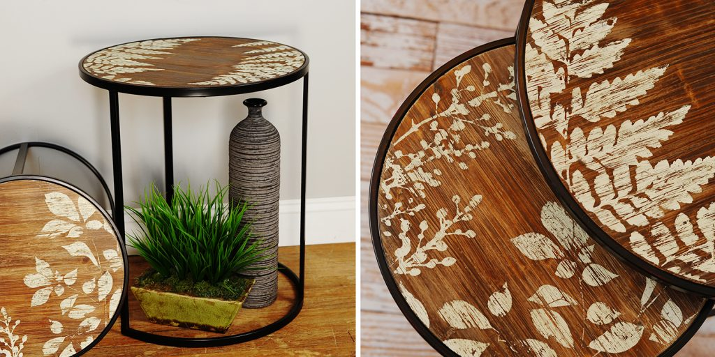 Rustic Country Nesting Tables with Leaf Pattern by Midwest CBK. Click on the image to view additional nesting table styles.