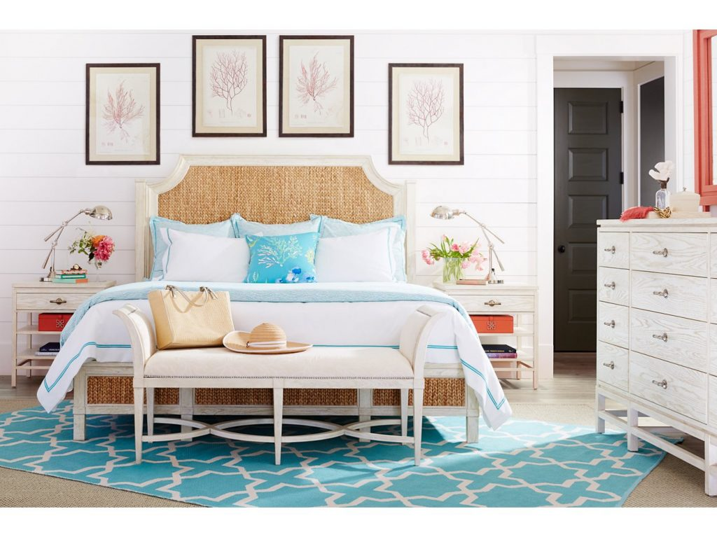 Bright & Airy Coastal Inspired Bedroom: Turquoise & Coral are the perfect accent colors for the crisp white walls and sand colored headboard