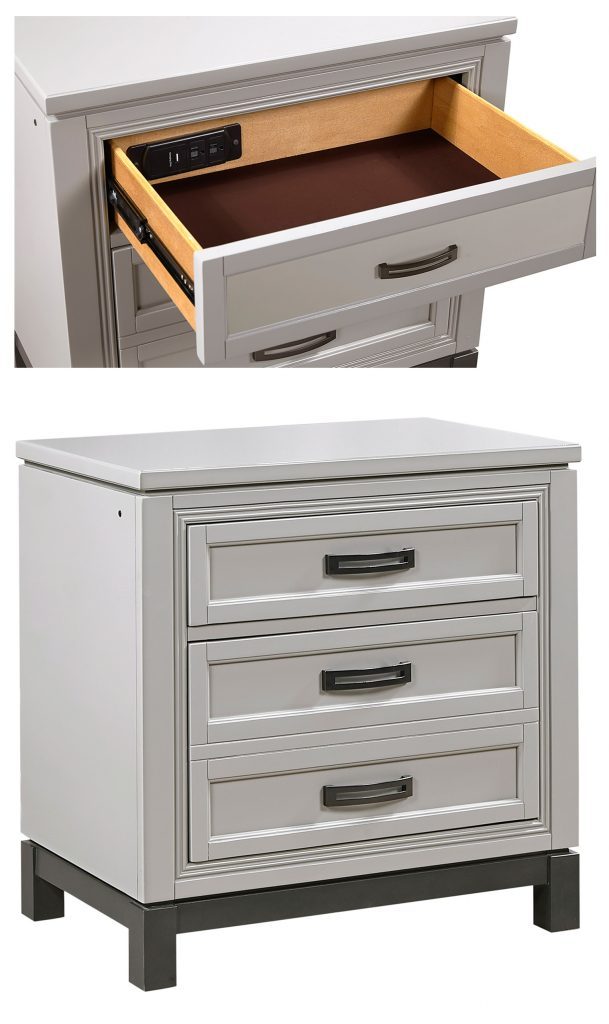 Liv 360 Nightstand from Aspenhome Furniture features AC outlets in the top drawer and 3 way touch pathway lighting.